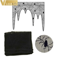 105x107cm Halloween Lace Decoration Black Spiderweb Fireplace Cloak Scarf Cover Curtains Shades Part
