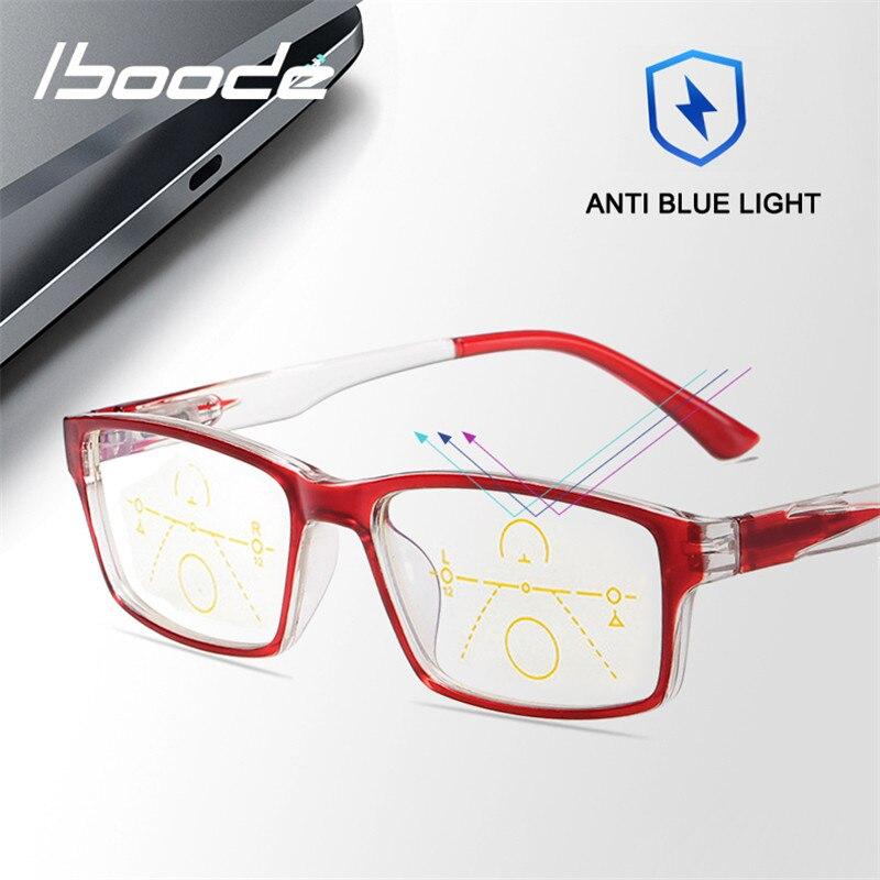 Iboode Progressive Männer Lesebrille Multifokale Anti Blau Rays Probyopic Gläser Blau Licht Blockieren + 1,0 1,50 2,0 2,5 3,0 3,5