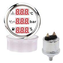 Medidor de temperatura del agua 3 en 1, 0 10 Bar, medidor de presión de aceite con NPT 1/8 M10x1, voltímetro de nivel de combustible