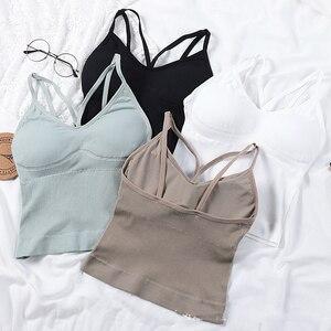 Image 5 - Camisetas sin mangas negras de primavera en blanco para mujer, remera ajustada sin mangas, camisetas para mujer, Tops para mujer 2020