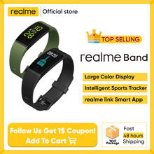 realme Band Smart Bracelet Large Color Display Sports Tracker Heart Rate Monitor 16mm Wrist Strap Notifications IP68 USB Charge