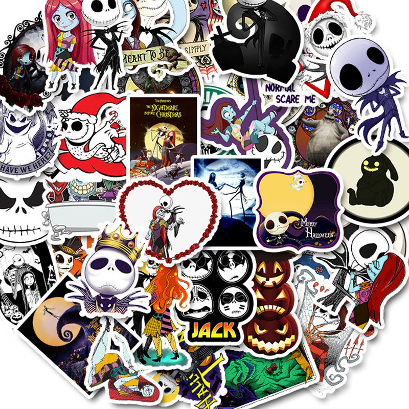 50pcs Nightmare Before Christmas Halloween Graffit Stickers For Motorcycle Car Luggage Laptop Guitar Decorative Sticker Decals