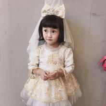 Винтажное испанское платье для девочек; бальное платье принцессы с помпонами; рождественское праздничное платье в стиле Лолиты; комплект из 3 предметов; цвет Шампань, золотой; бархатное; сезон осень-зима
