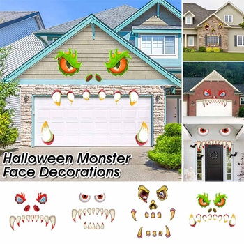 Halloween Monster Face Home Decoration Outdoor Garage Door Archway Car Party Decor Faces Wall Sticker Window Wall Decals Stickes