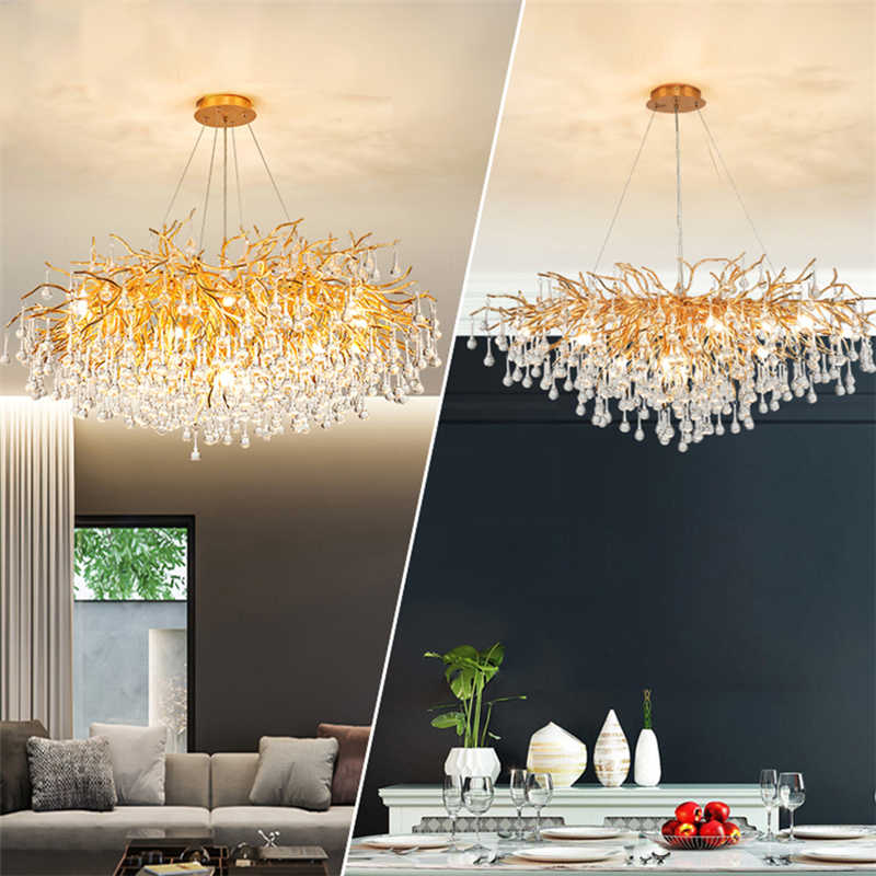 Золотая хрустальная люстра в европейском стиле, подвесной светильник в скандинавском стиле для гостиной, украшение для дома, роскошный потолочный светильник, светодиодные розетсветодиодный G9
