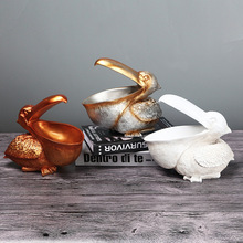 Creative European Pelican Statue Holder for Key Phone Home Decor Storage Animal Ornament Storage Resin Art Figurines Container