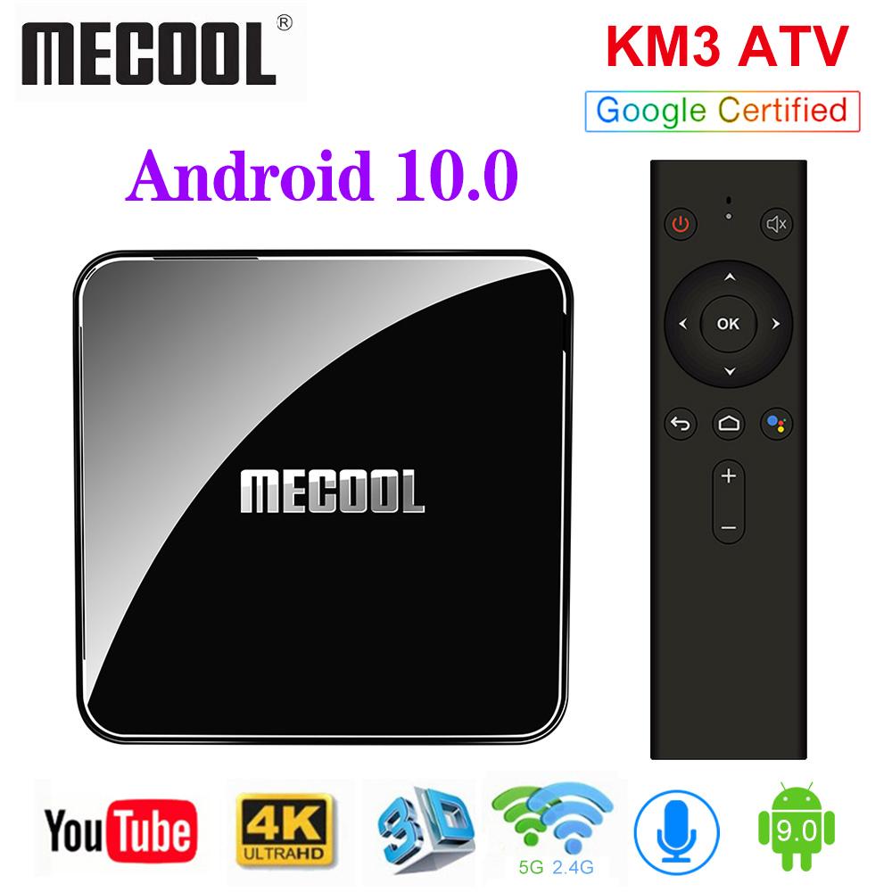 MECOOL KM3 ATV Google Certified TV Box Android 10 TV Box 4GB 64GB Amlogic S905X2 9 0 KM9 Pro 4GB 32GB Androidtv 4K Dual Wifi Box