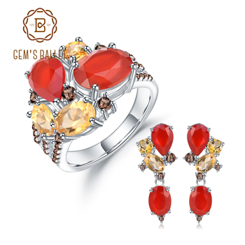 GEM'S BALLE 925 Sterling Silver Natural Red Agate Citrine Ring Earrings Sets Candy Jewelry Set For Women Wedding Fine Jewelry