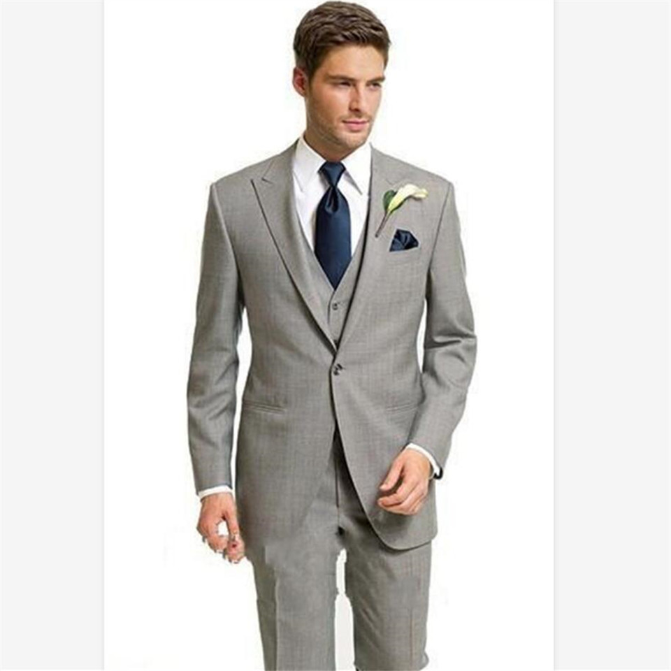 New Classic Men's Suit Smolking Noivo Terno Slim Fit Easculino Evening Suits For Men Light Grey Groom Tuxedos Peaked Lapel Weddi