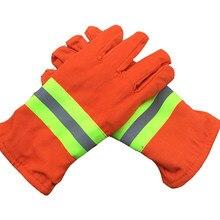 Tamanho livre alaranjado das luvas de trabalho da segurança do salvamento dos bombeiros da visibilidade alta resistente ao calor para o trabalhador