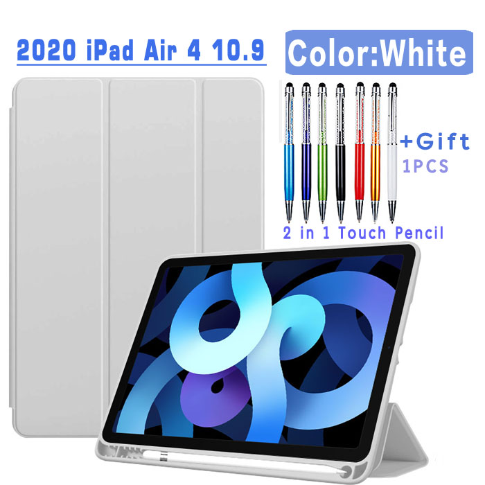 Pencil Case-White Purple Magnetic Case For iPad Air 4 2020 10 9 inch flip case with Pencil Holder For
