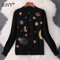 Fashion New Runway Designer Autumn Winter Sweater Women Long Sleeve Sequined Diamonds Knit Cardigans Coat Female Outerwear
