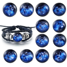 Fashion Twelve Constellations Handmade Bracelet Delicacy punk Leather Zodiac for Men Women Jewelry Gifts