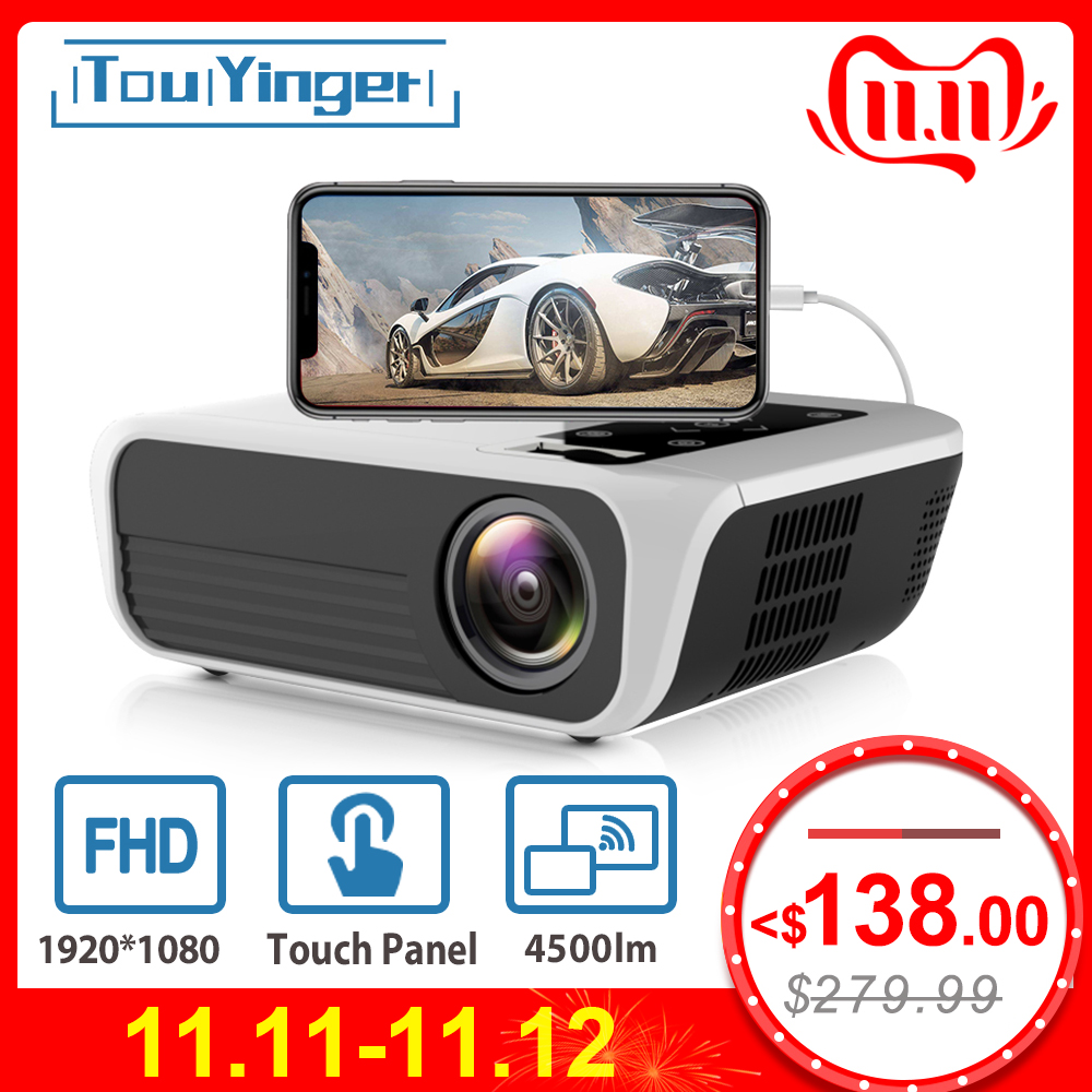 Touyinger L7 LED Native 1080P Projector 4500 Lumens full HD beamer Video Android 7.1 wifi AC3 Bluetooth Home cinema HDMI-in LCD Projectors from Consumer Electronics
