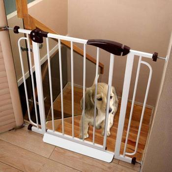 Folding Dog Gate and Pet Fence Gate for Pet Isolation with Door Bar Guide Suitable for Stairways