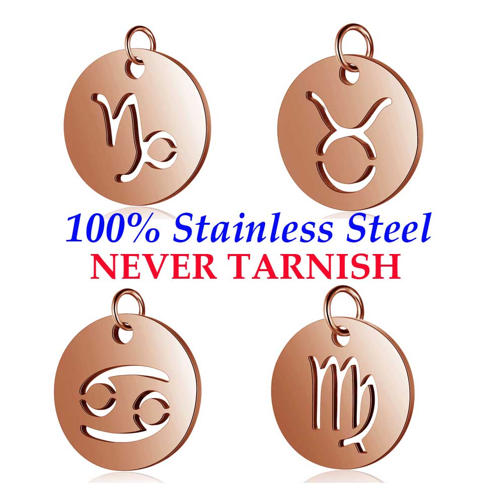 5 Pieces Rose Gold Filled Zodiac Symbol 12 Constellation Charm Wholesale 100% Stainless Steel DIY Jewelry Charms