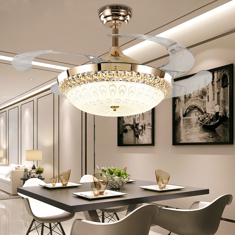 Discreet Crystal Gold Ceiling Fans Light 36 42 Inch Fan Led Remote Control Glass Ceiling Fans With Lights Home Decor Fixing Prices According To Quality Of Products