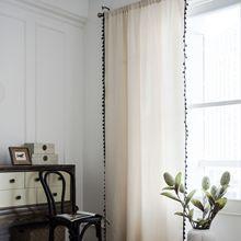 Cortinas para sala de estar cortinas de algodón de línea vintage para cortinas de ventana de dormitorio