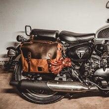 Vintage hommes toile Crazy Horse cuir sac bandoulière ordinateur sac officiel chevalier moto sac