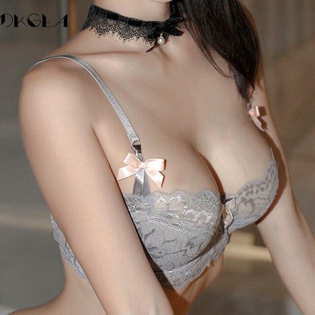Fashion Black Sexy Bra Plus Size C D Cup Thin Cotton Underwear Women Lace Comfortable Brassiere Gray Bras Embroidery Lingerie 1