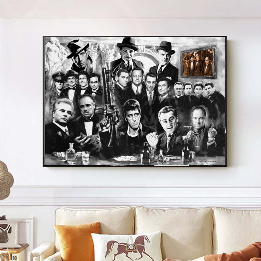 <font><b>Poster</b></font> And Prints Canvas Paintings Art <font><b>Gangsters</b></font> Godfather Goodfellas AL PACINO Movie Wall Pictures For Living Room Home Decor image