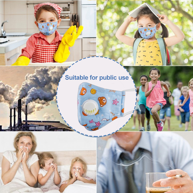 3 PCS Cartoon PM2.5 Children Mask With 6 Filters Breath Valve Mouth Face Mask Kids Washable Mask Dust-proof Sterile In Stock 5
