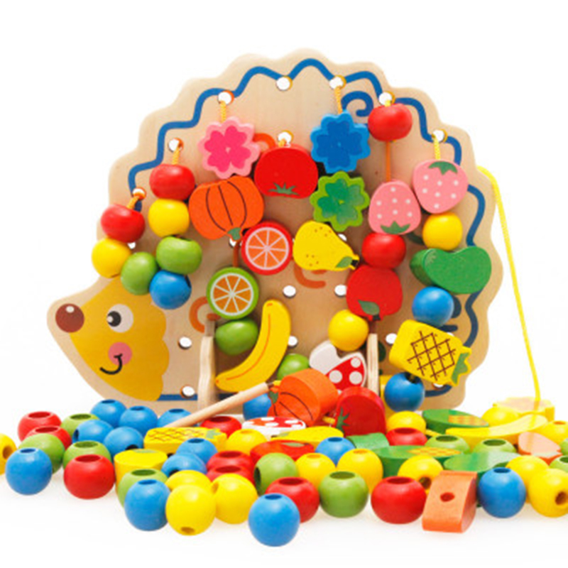 Montessori Educational Toys 82Pcs Wooden Fruits Vegetables Lacing Stringing Beads Toys With Hedgehog Board For Kids Juguetes