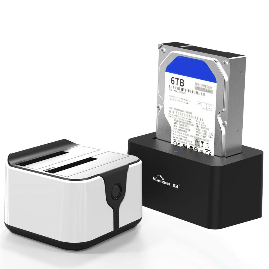 2 Bay SATA USB 3 0 SSD Enclosure HDD Case Usb Hdd Enclosure External Hard Drive Docking for 2 5 3 5inch HDD SSD Offline Clone