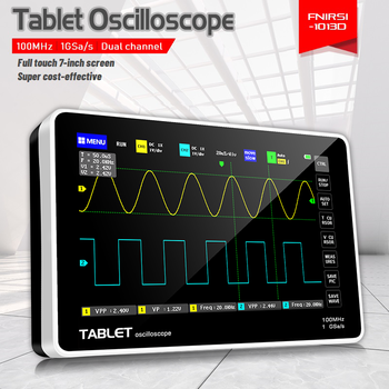 FNIRSI-1013D Digital tablet oscilloscope dual channel 100M bandwidth 1GS sampling rate mini tablet digital oscilloscope fnirsi 5012h digital oscilloscope 5012h 2 4in lcd display screen 100mhz bandwidth and 500ms s sampling rate usb oscilloscopes