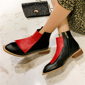 Image 4 - FEDONAS Chất Lượng Hỗn Hợp Màu Sắc Da Thật Chính Hãng Da Nữ Cổ Chân Giày Cổ Điển Mũi Tròn Giày Chelsea Boot Quàng Nam Giày Người Phụ Nữ Cổ Ngắn Tăng
