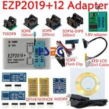 Conjunto de programador, conjunto completo ezp2019 programador de alta velocidade usb spi + 12 adaptador sop8 com clipe de teste sop8/16, adaptador de 1.8v flash de tomada madeira 24 25 eeprom
