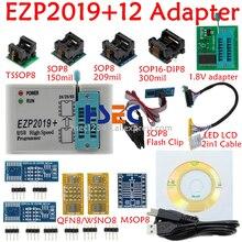 Juego completo EZP2019, programador USB SPI de alta velocidad + adaptador SOP8 de 12, clip de prueba, sop8/16, 1,8 V, adaptador de enchufe flash aux 24 25 EEPROM