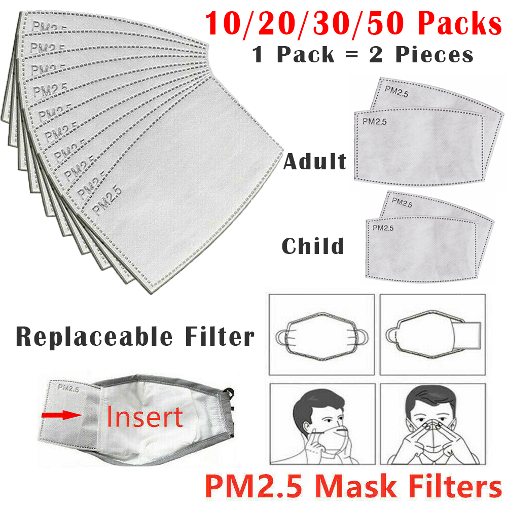 20/40/60/100PCS Anti Pollution PM2.5 Mouth Mask Dust Respirator Anti Haze Paper Filters Mouth Muffle Bacteria Proof Breath Valve