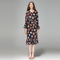 2020 High Quality Spring&Fall Newest Cute Style Dress Full Sleeve Elegant Trumpet Fishtail Long Dress Women