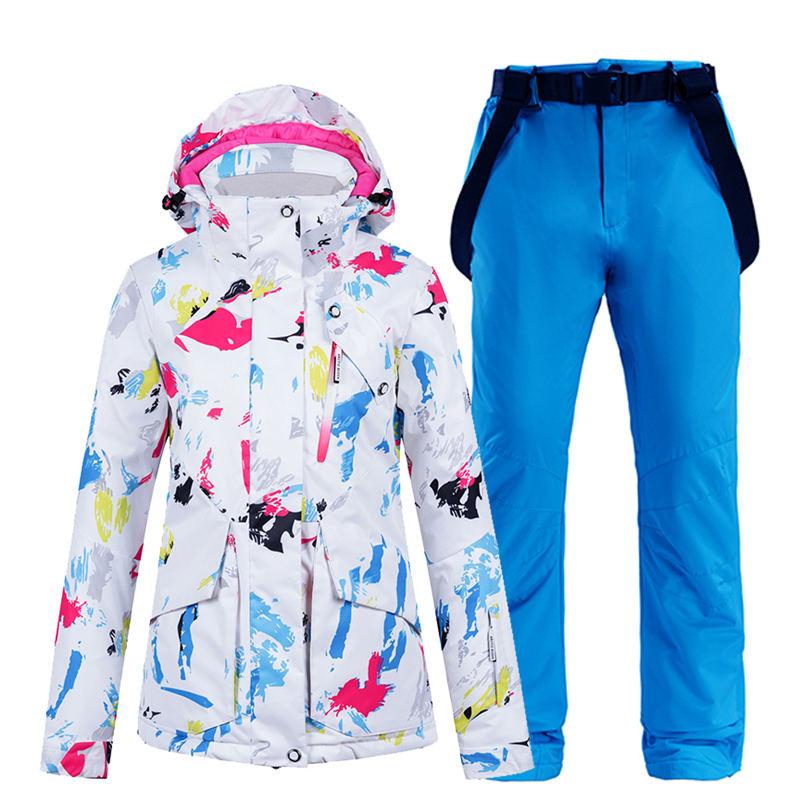 Impermeável à Prova de Vento Jaqueta de Esqui e Cinta Calças de Neve Colorido Feminino Neve Wear Snowboarding Terno Define Inverno Quente Traje -30 °c