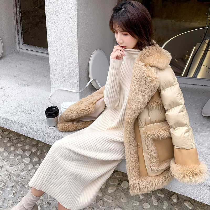 100% Real Wool Coat Winter Women 90% White Duck Down Jacket Solid Turn-down Collar New Arrival 2020 Female Thick Warm Outerwear