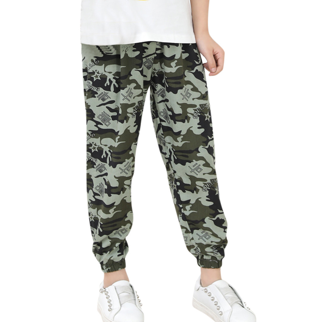 Girls Pants Harem Children Trousers Anti-Mosquito Cotton Camouflage Casual For Boy Silk