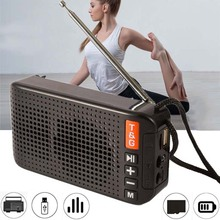 Portable FM Radio Mini Solar Bluetooth 5.0 Speaker with LED Flashlight Support Handsfree TF Card U Disk MP3 Player