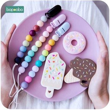 Bopoobo 1PC Food Grade Silicone Icecream Set Teething Beads Making BPA Free Baby Teethers Pendant Pacifier Clip Chain