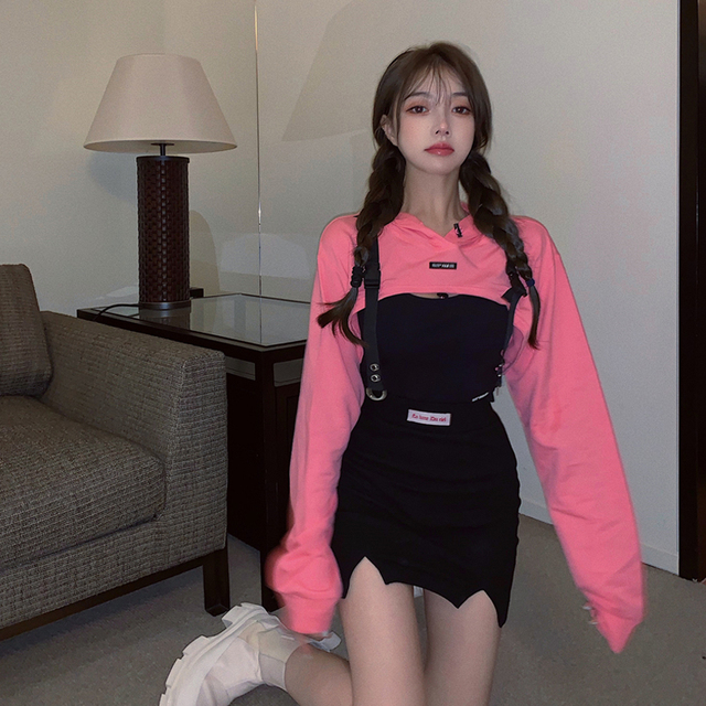 Women Fashion Casual Sexy Punk Goth Hoodie Long Sleeve Stylish Crop Top Spring Autumn Pullover Thin Sweatshirt Pink Tracksuit 4