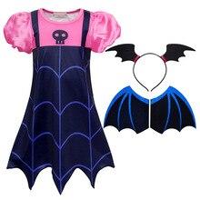 купить AmzBarley Girls Vampire Costumes wing mask headband Toddler Girls Boo-Tiful Dress Up Halloween Cosplay outfits kids Party Dress онлайн