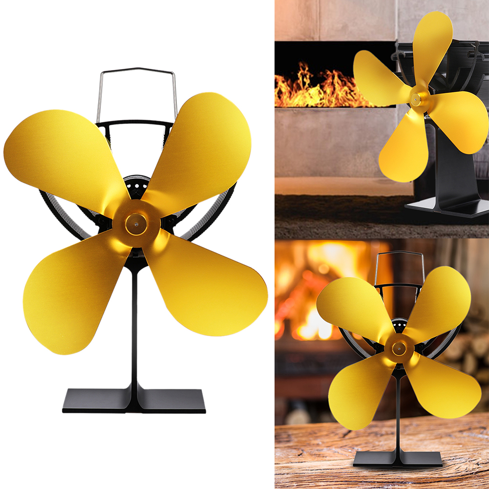 4 Blades Efficient Metal Heat Operated Portable Energy-Saving Fireplace Fan Low Noise Home Lightweight Gold Durable Winter