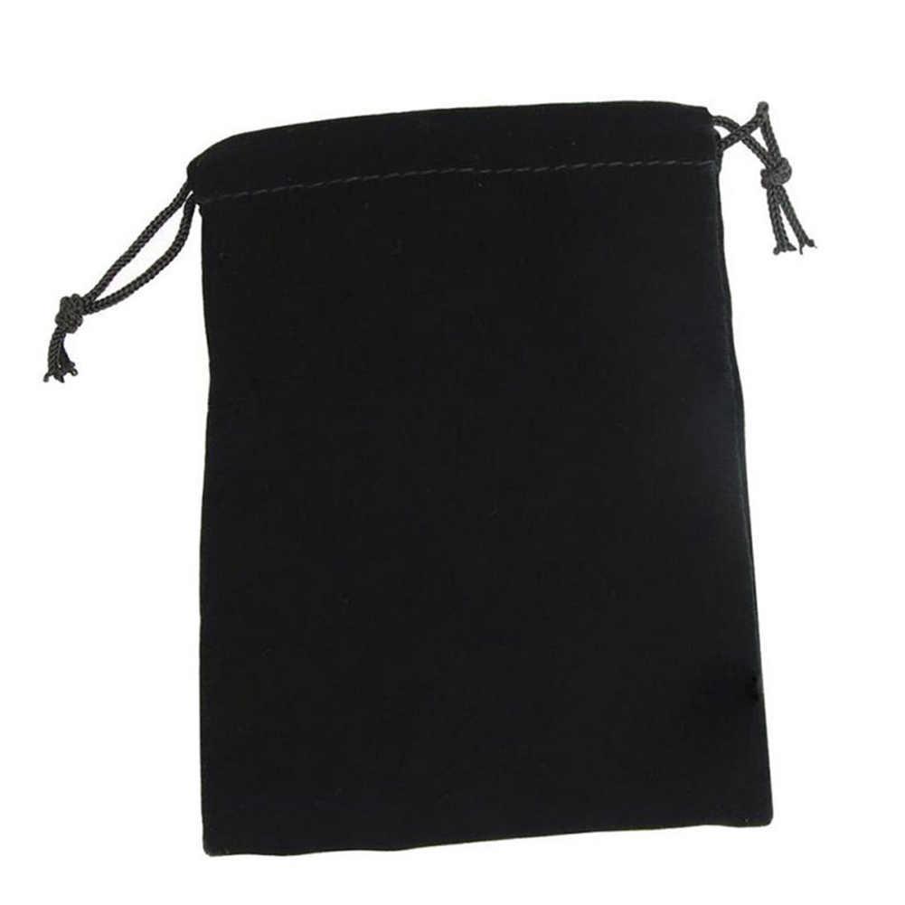 1 pieza negro terciopelo cordón caramelo joyería almacenamiento bolsa boda regalo bolsa