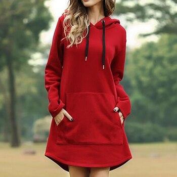 Vintage Women Spring Dress Hooded Long Sleeve Loose Casual 3XL Plus Size Dress Retro Ladies Pocket Tube Midi Dresses