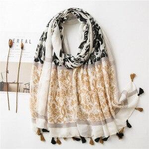 NEW graffiti vintage scarf tassels hijab fashion women soft turban muslim print hijabs