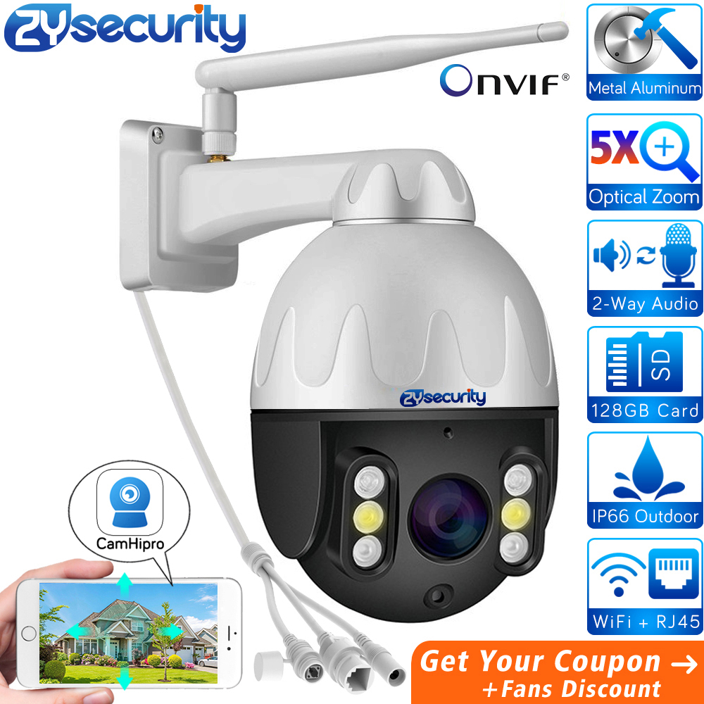 5.0MP 5X Optical Zoom Metal Wifi PTZ Camera Outdoor 1920P 1080P Wireless Speed Dome Surveillance CCTV Security IP Camera CamHi