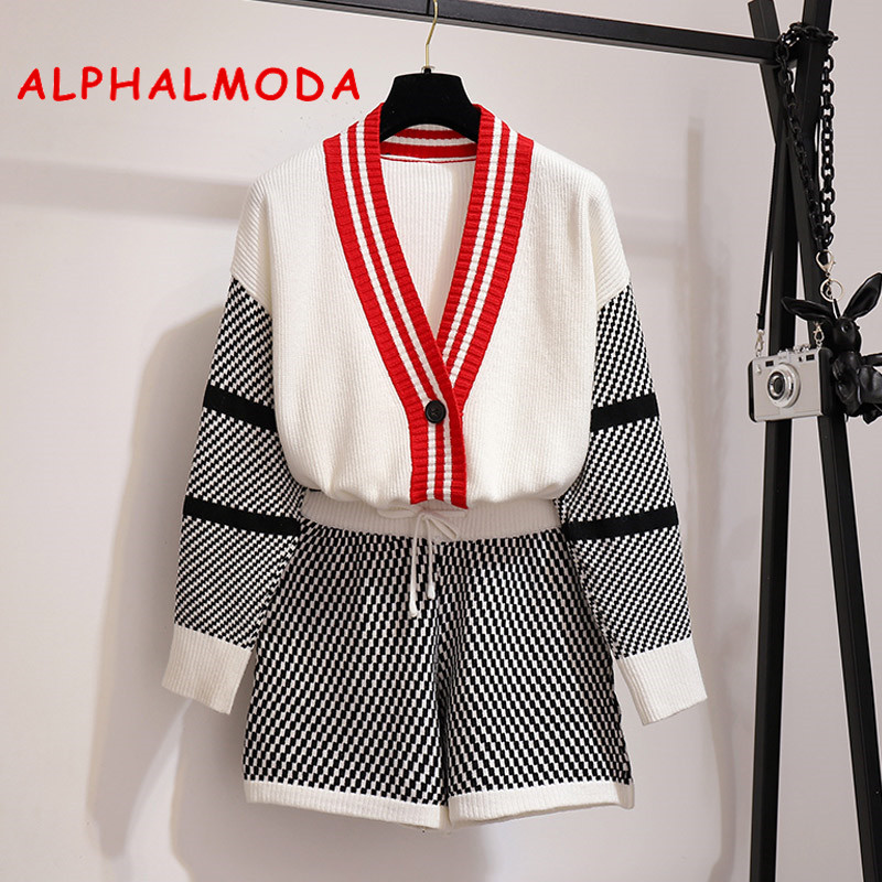 ALPHALMODA V-collar Long-sleeved Outfit + Hot Shorts Women Autumn 2pcs Casual Sets 2019 New Fashion Knitting Jacket Shorts Set