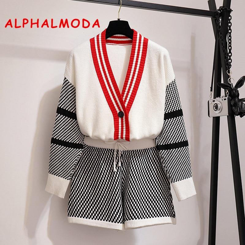 ALPHALMODA V-collar Long-sleeved Outfit + Hot Shorts Women Autumn 2pcs Casual Sets 2019 New Fashion Knitting Jacket Shorts Set