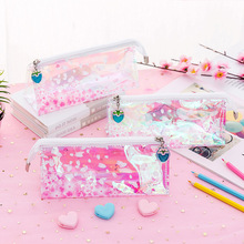 Cherry blossoms transparent reflective laser pencil bag creative lovely large capacity stationery