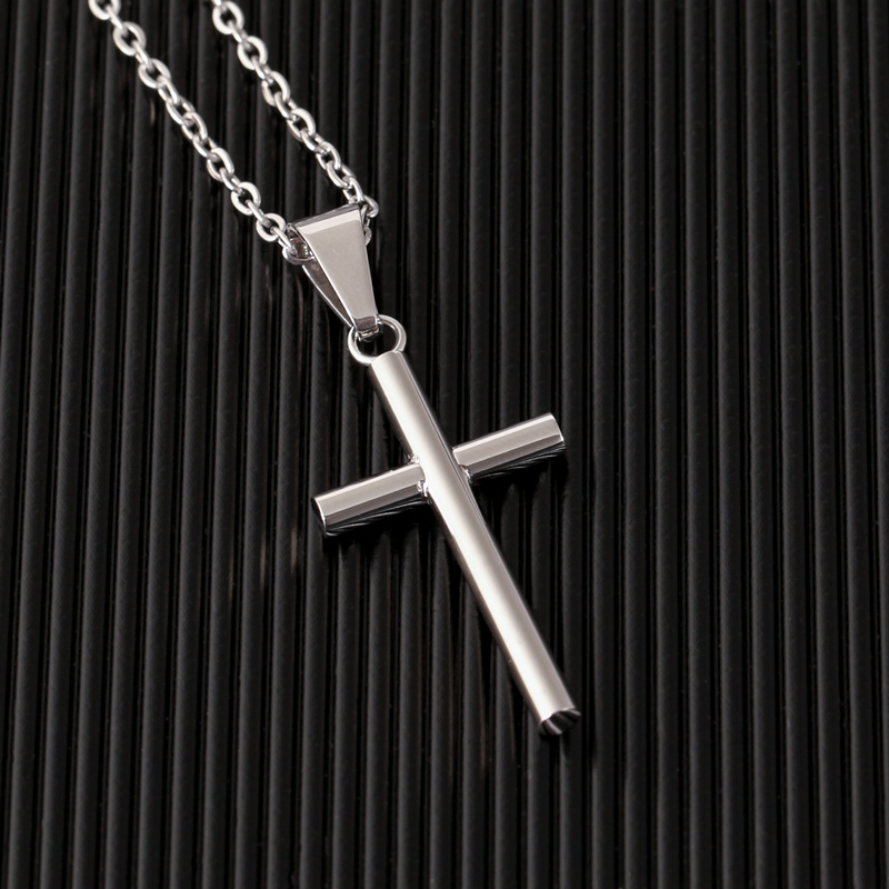 Hb579741d62054ebd8a80fd375fd333ecJ - New Stainless Steel Cross Necklace Men Pendant For Women Gold Color Crystal Link Chain Prayer Necklace Christian Jewelry Gift